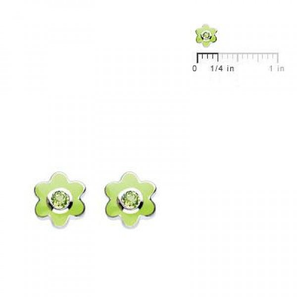Kids Silver Flower August Birthstone Peridot Children's Earrings For Girls