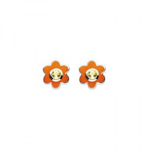 Kids Silver Flower November Birthstone Citrine Children's Earrings For Girls