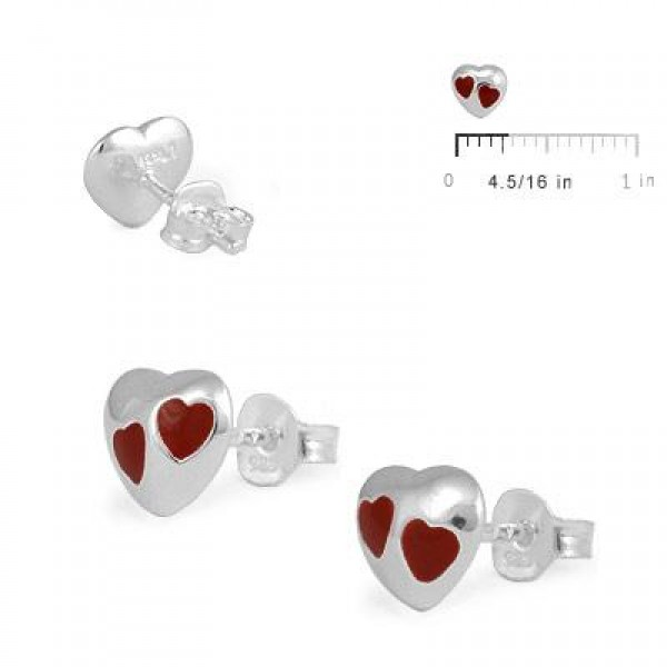 Child & Teen Girl Sterling Silver Red Enameled Heart Stud Earrings