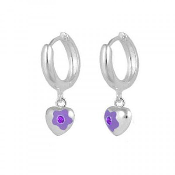 Sterling Silver June Birthstone Flower Heart Hoop Girls Earrings