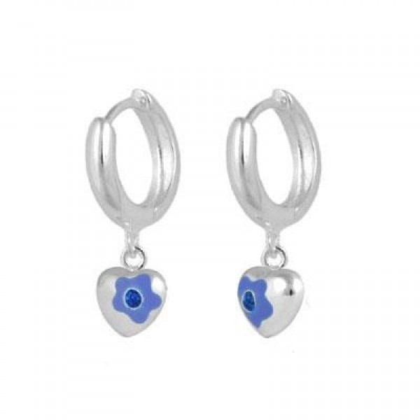 Sterling Silver September Birthstone Flower Heart Hoop Girls Earrings