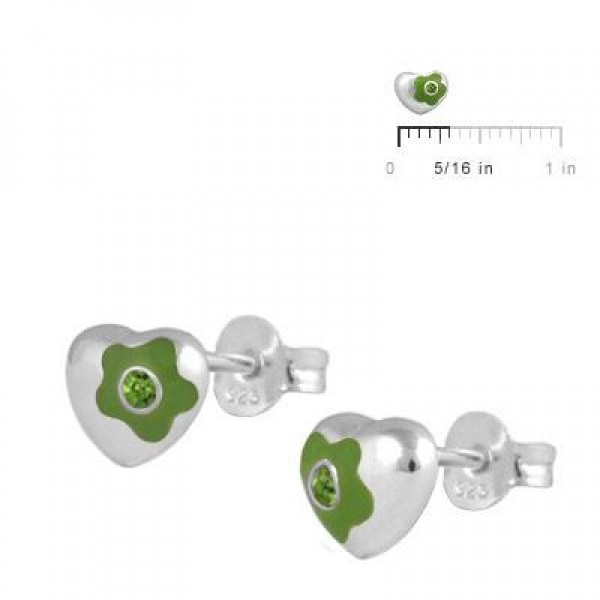Silver August Birthstone Flower Enamel Heart Girls Stud Earrings