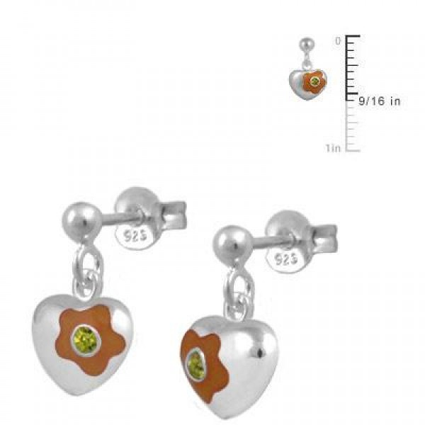 Silver November Birthstone Flower Heart Dangling Girls Earrings