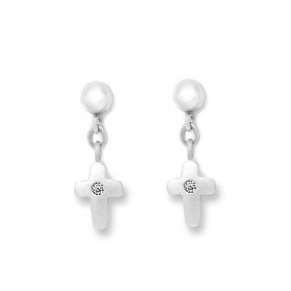 Sterling Silver Diamond Accent Dangling Cross Earrings for Girls