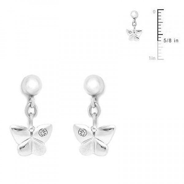 Sterling Silver Diamond Accent Dangling Butterfly Earrings For Girls