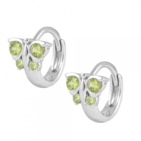 Girl's Jewelry - Sterling Silver Butterfly August Birthstone Hoop Earrings