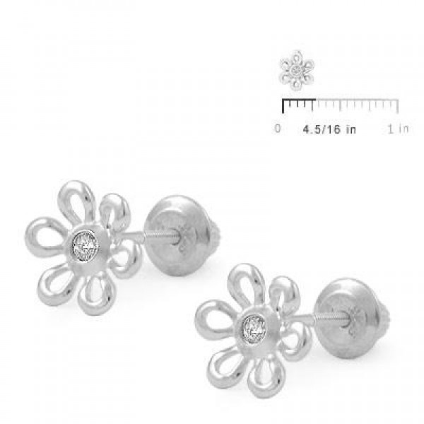 Girl's Jewelry - Silver Diamond Daisy Flower Screw Back Earrings