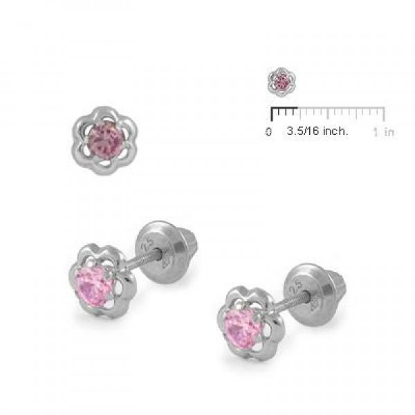 Girls Sterling Silver Pink Cubic Zirconia Flower Screw Back Earrings