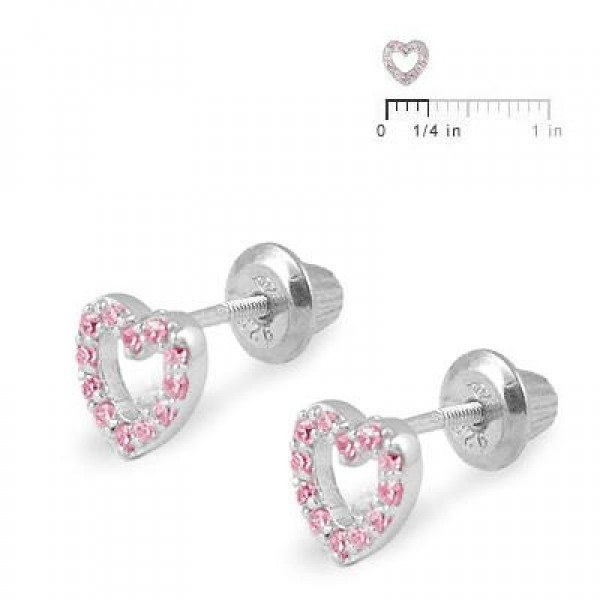 Girl's Sterling Silver Pink C.Z. Open Heart Screw Back Stud Earrings