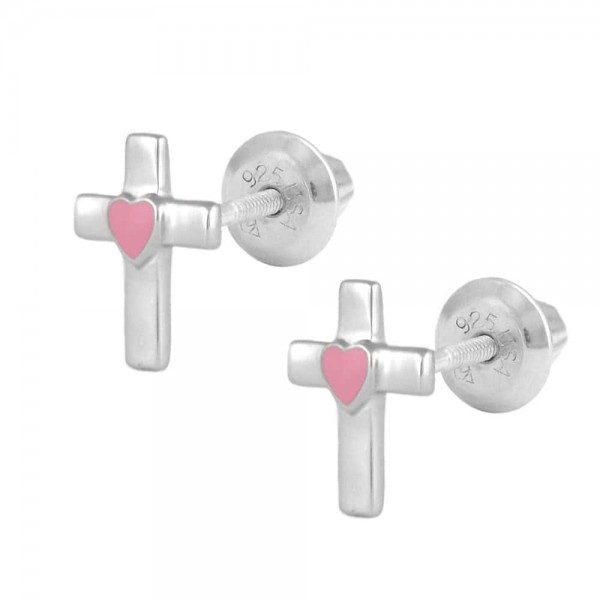 Kids Jewelry - Sterling Silver Pink Heart Cross Screw Back Earrings