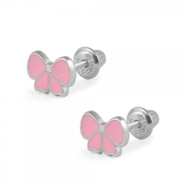 Sterling Silver Pink Enamel Bow Screw Back Stud Earrings For Girls