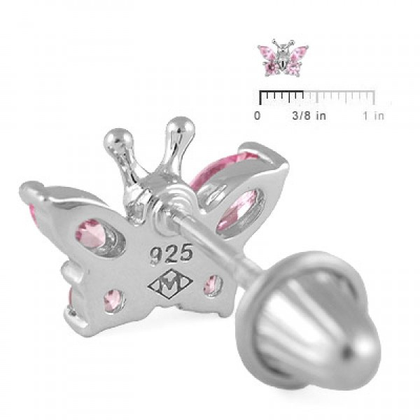 Girls Sterling Silver October Birthstone Butterfly Screw Back Earrings
