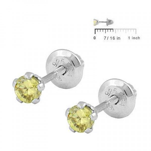Children Silver November Birthstone Citrine Screw Back Earrings For Girls
