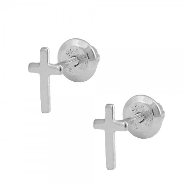 Kids Jewelry - Sterling Silver Cross Screw Back Stud Earrings for Girls