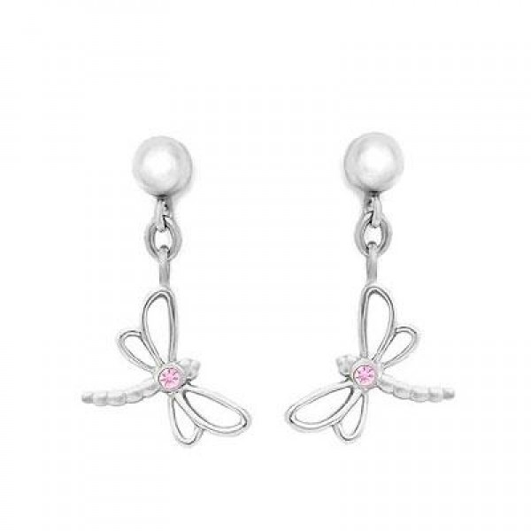 Silver Young Girl's Dangling Dragonfly Earrings With Pink Sapphire