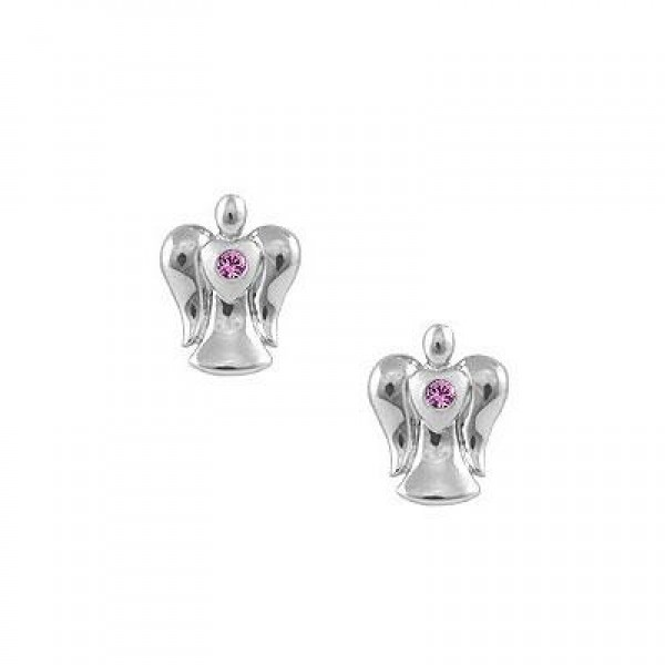 Sterling Silver Pink Sapphire Angel Push On Stud Earrings For Girls