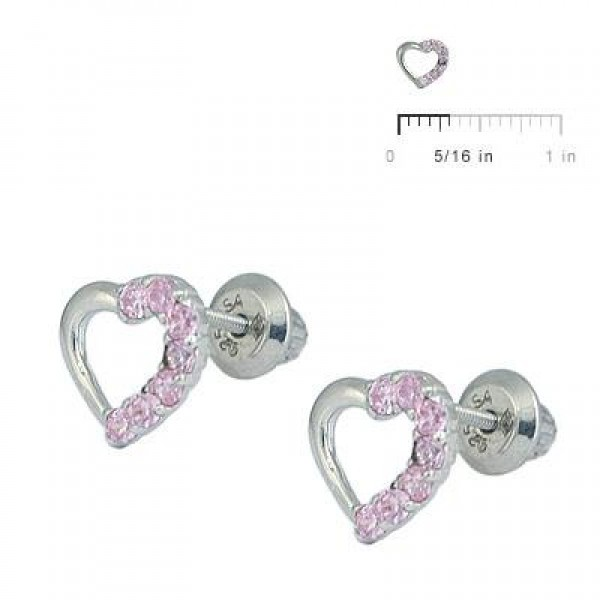 Girl's Silver Pink Cubic Zirconia Open Heart Screw Back Stud Earrings