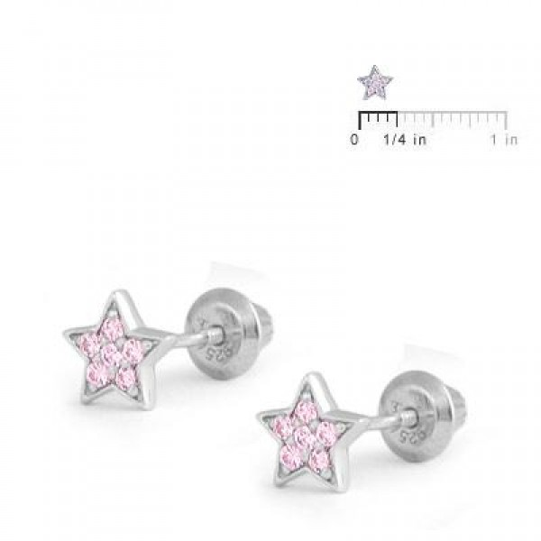 Sterling Silver Pink C.Z. Star Screw Back Stud Earrings For Girls