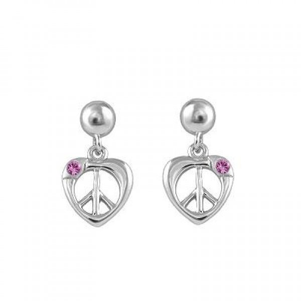 Kid Jewelry - Silver Pink Sapphire Dangling Heart Peace Sign Earrings