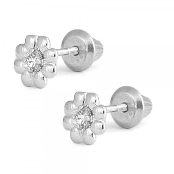 Sterling Silver Diamond Flower Screw Back Stud Earrings For Girls