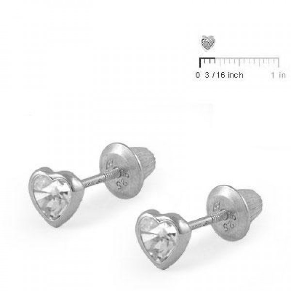 Girl's Sterling Silver April Birthstone Heart Screw Back Earrings
