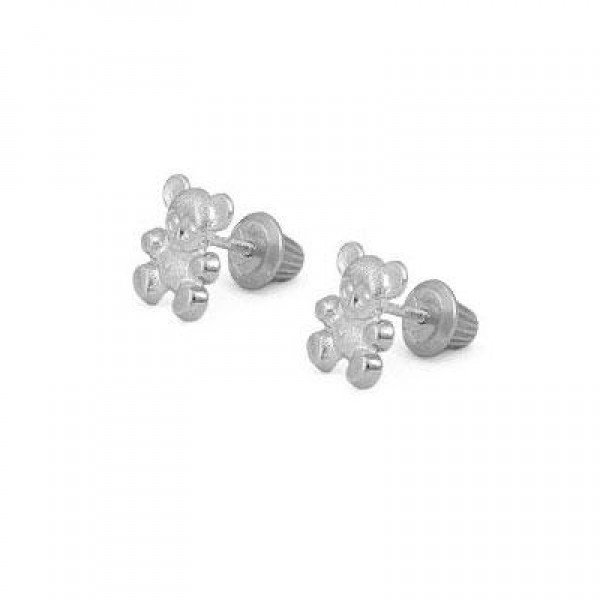 Sterling Silver Teddy Bear Screw Back Stud Earrings For Little Girls