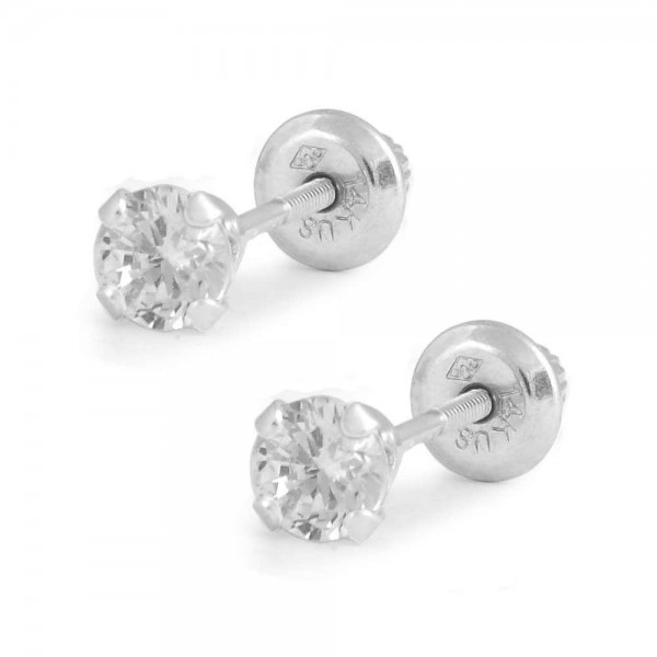 Children And Teens 14K White Gold 4mm CZ 4-Prong Screw Back Earrings