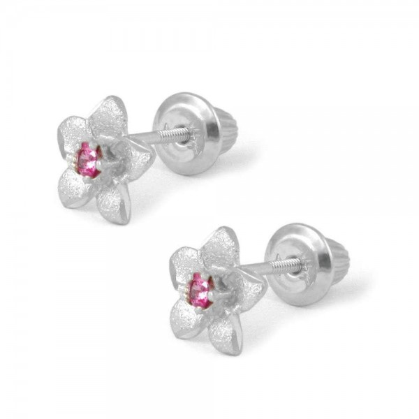 14K White Gold Plumeria Flower Pink Sapphire Screw Back Earrings For Girls