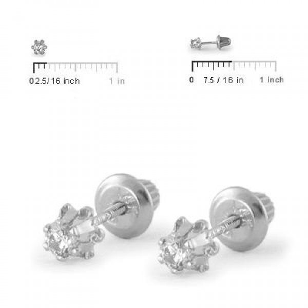 Girl's Jewelry - 14K White Gold 0.14 CTW Diamond Screw Back Earring Studs