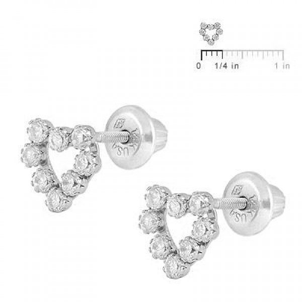 14K White Gold C.Z. Open Heart Screw Back Earrings For Children & Teenagers
