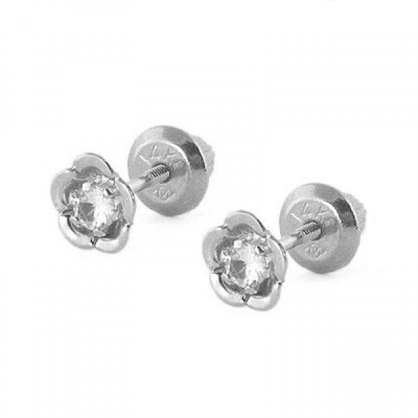 14K White Gold Flower Genuine White Topaz April Birthstone Baby Studs