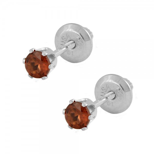 14K White Gold Genuine Garnet Girls Stud Earrings - January Birthstone