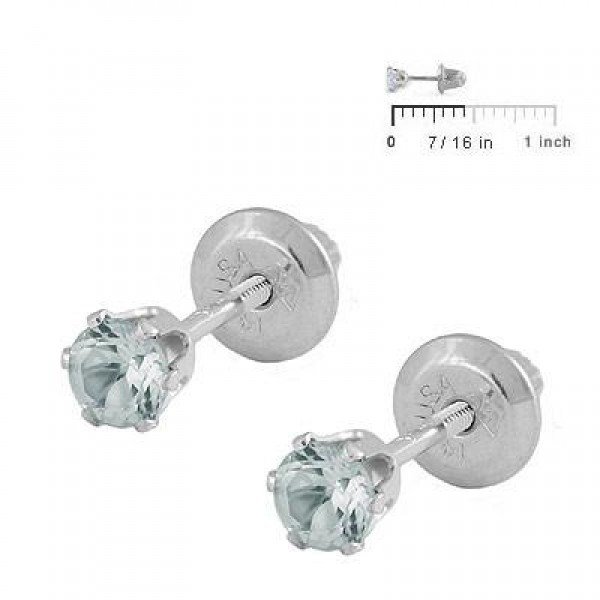 14K White Gold Genuine March Birthstone Aquamarine Girls Earrings