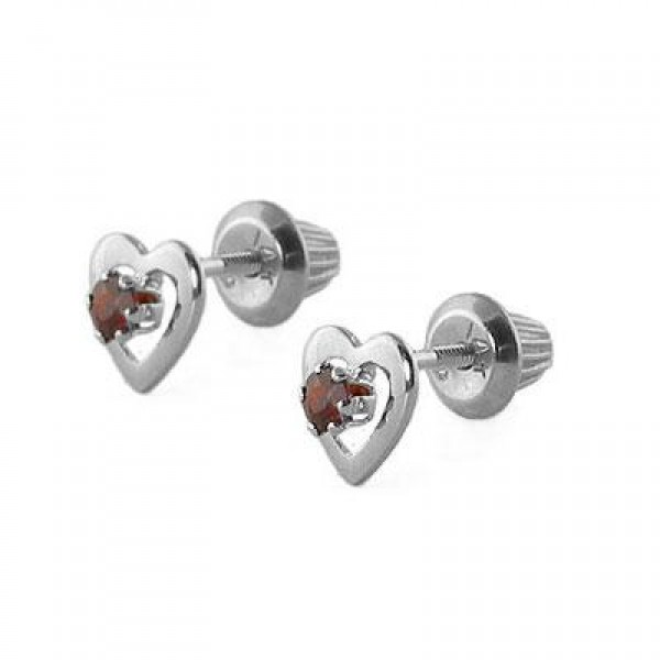 14K White Gold January Birthstone Garnet Heart Earrings For Girls