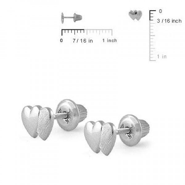 Girl Jewelry - 14K White Gold Double Hearts Screw Back Stud Earrings