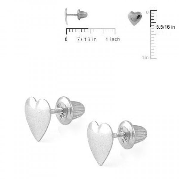14K White Gold Heart Shaped Screw Back Stud Earrings for Girls