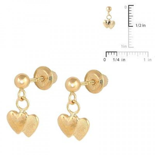 14K Yellow Gold Dangling Double Hearts Screw Back Earrings for Girls