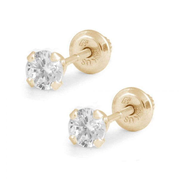 Children And Teens 14K Yellow Gold 4mm CZ 4-Prong Screw Back Earrings