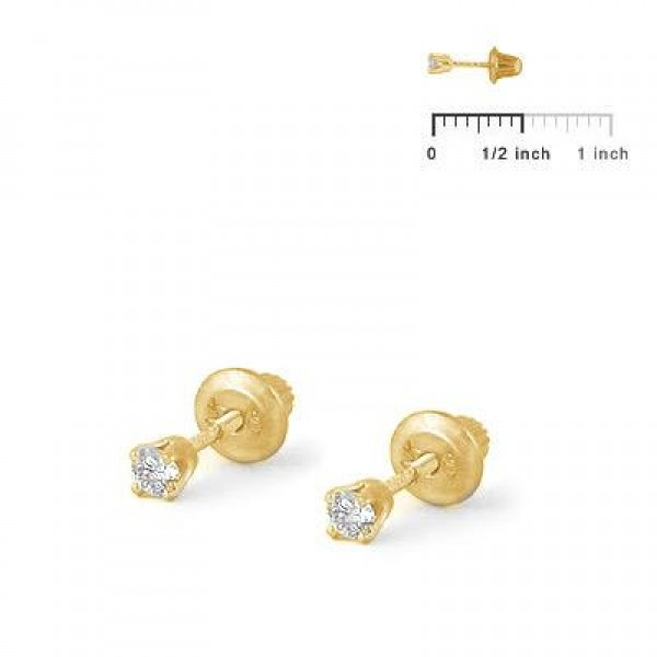 Girls Jewelry - 14K Yellow Gold 0.1CTW Diamond Screw Back Earrings