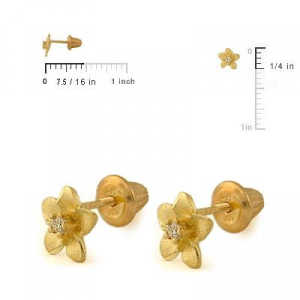 14K Yellow Gold Plumeria Flower Diamond Screw Back Earrings For Girls