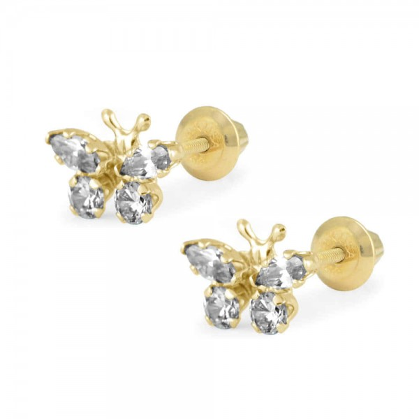 Girls 14K Yellow Gold April Birthstone Butterfly Screw Back Earrings