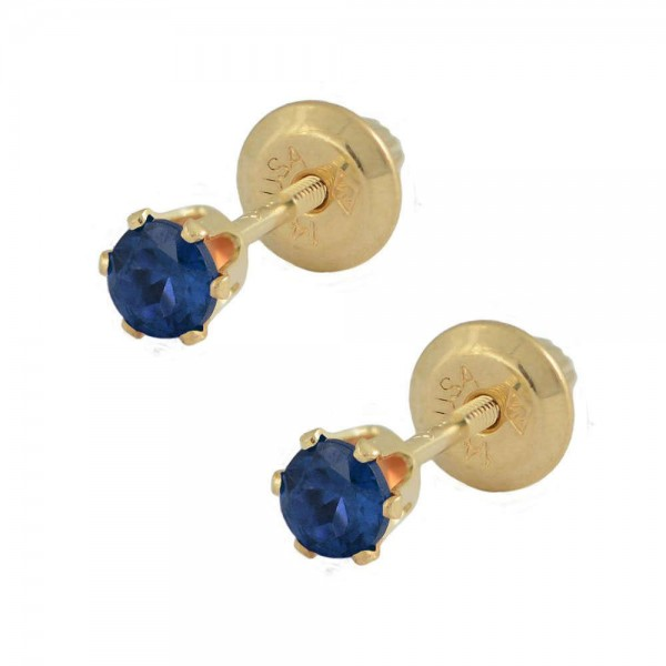 14K Yellow Gold September Birthstone Sapphire Screw Back Girls Earrings