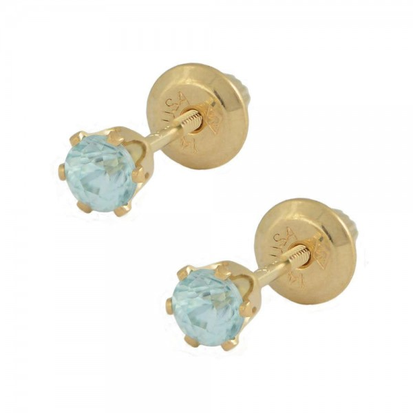14K Yellow Gold Genuine Blue Zircon Girls Stud Earrings - December Birthstone