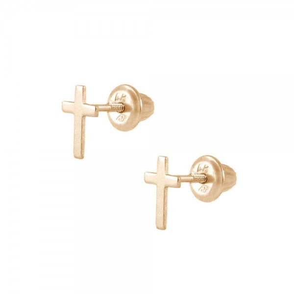 Kids Jewelry - 14K Yellow Gold Cross Screw Back Stud Earrings for Girls