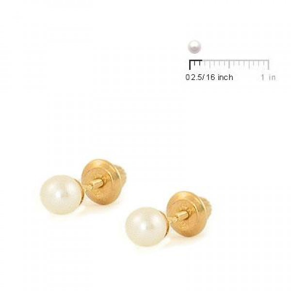 14K Yellow Gold Cultured Pearl Screw Back Stud Earrings For Girls Of All Ages