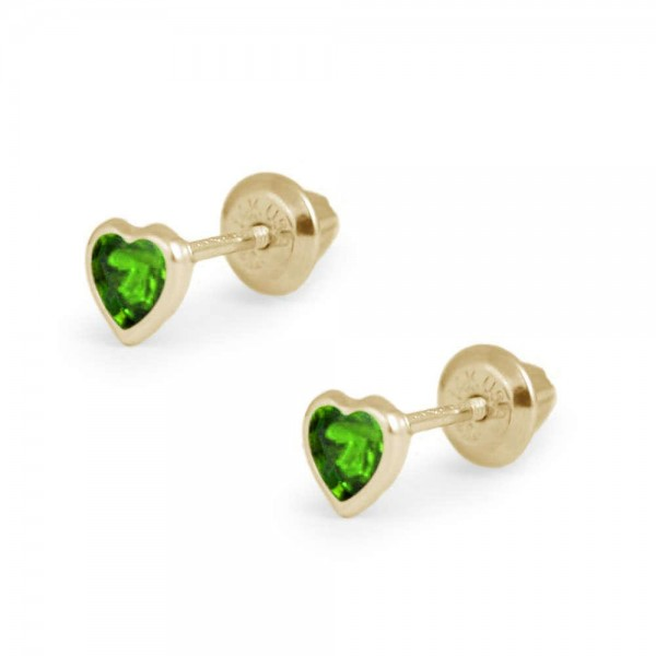 Girl's 14K Yellow Gold May Birthstone Heart Screw Back Earrings