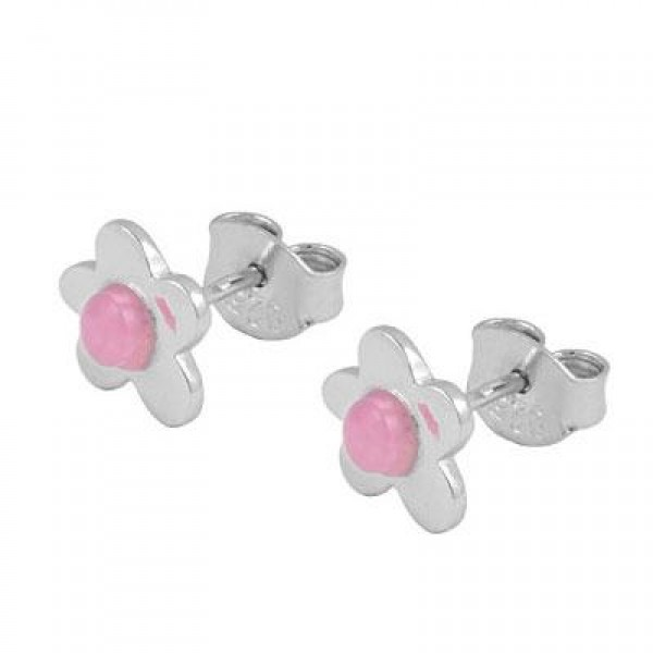 Girls Jewelry - Sterling Silver Resin Flower Post Earrings