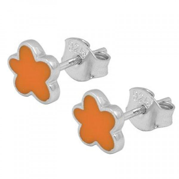 Young And Teenage Girls Silver Orange Enameled Flower Post Earrings