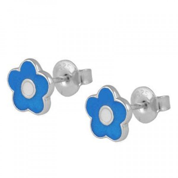 Children's Jewelry - Silver Blue Enameled Flower Earrings For Girls