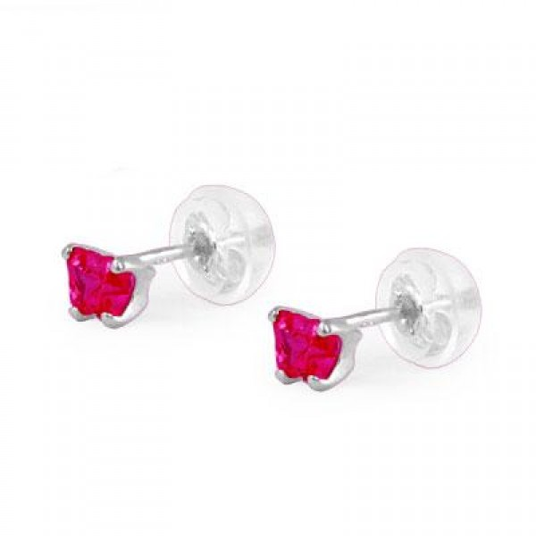 Baby 14K White Gold Ruby C.Z. Butterfly Stud Earrings